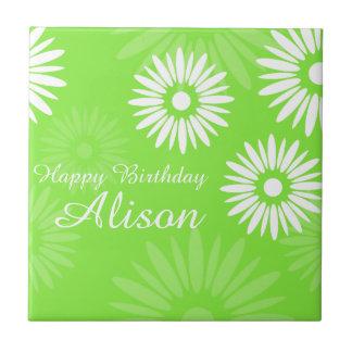 Summer Green flowers Happy Birthday Name Tile