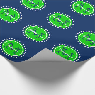 Summer Green Polka Dot Monogram on Navy Blue Wrapping Paper