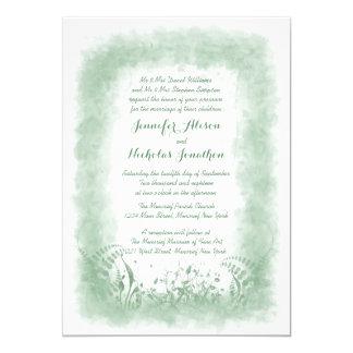 Summer Green Watercolor Wedding Invitations