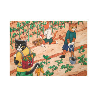 Summer Harvest Cats Canvas Print