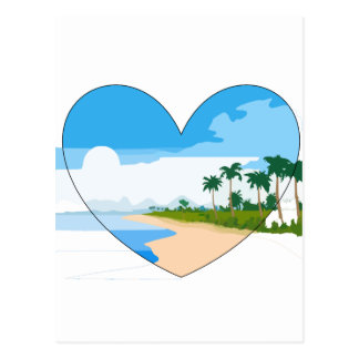 Summer heart sandy beach palm trees sea postcard