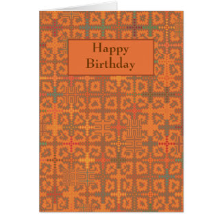 Summer Heat Orange Tapestry Birthday Card Template