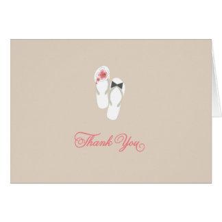 Summer Hibiscus Flip Flops Beach Wedding Thank You Note Card