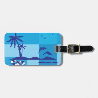 Summer Holiday Beach Palm Trees Blue Tag