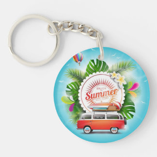 summer holiday Circle (double-sided) Keychain