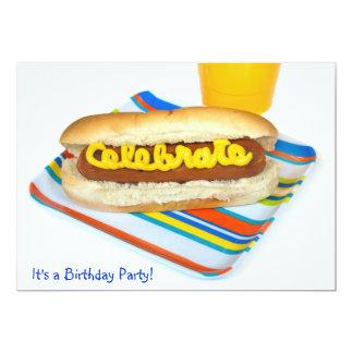 Summer Hot Dog Birthday Party 13 Cm X 18 Cm Invitation Card
