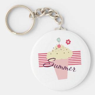 Summer Ice Cream Cone Basic Round Button Key Ring