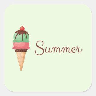 Summer Ice Cream Square Sticker