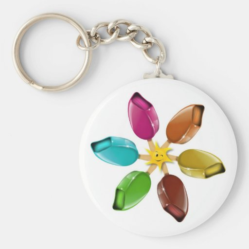 Summer ice cream with a smiling sun key chains