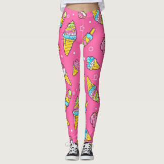 Summer Ice Creams Flavors Leggings