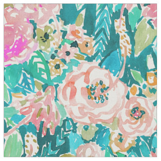 SUMMER IN MAUI Tropical Floral Watercolor Fabric