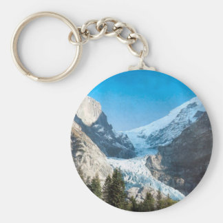 Summer in the mountains, glacier on the Jungfrau Basic Round Button Key Ring