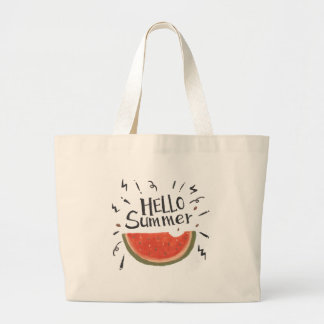 Summer is calling! Hello Summer. Watermelon. Large Tote Bag