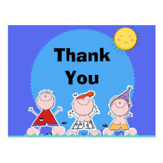 Summer Kids Pool Party Birthday Thank You Postcard