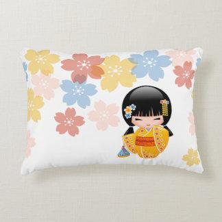 Summer Kokeshi Doll - Yellow Kimono Geisha Girl Decorative Cushion