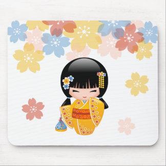 Summer Kokeshi Doll - Yellow Kimono Geisha Girl Mouse Pad