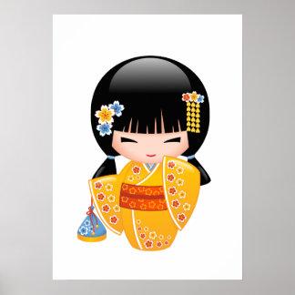Summer Kokeshi Doll - Yellow Kimono Geisha Girl Poster