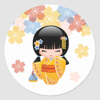 Summer Kokeshi Doll - Yellow Kimono Geisha Girl Round Sticker