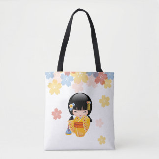 Summer Kokeshi Doll - Yellow Kimono Geisha Girl Tote Bag