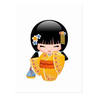 Summer Kokeshi Doll - Yellow Kimono Girl Postcard