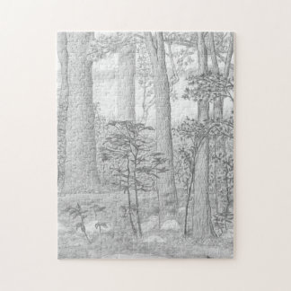 Summer Lake with Woods Graphite Pencil Drawing Jigsaw Puzzle
