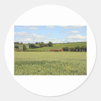 summer landscape classic round sticker