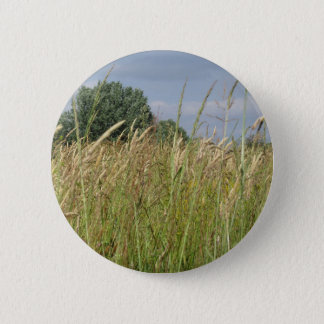 Summer landscape of wild field in the countryside 6 cm round badge