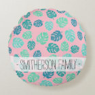 Summer leaf monstera turquoise mint watercolor round cushion