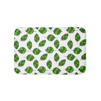 Summer Leaves Green Leaf Pattern on any Color Bath Mats