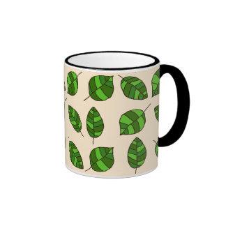 Summer Leaves Green Leaf Pattern on any Color Ringer Mug