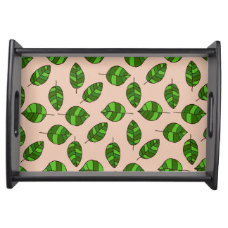 Summer Leaves Green Leaf Pattern on any Color Service Trays