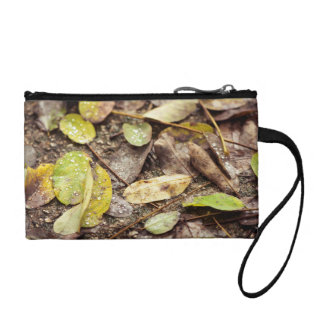 Summer leaves under the raindrops coin purse