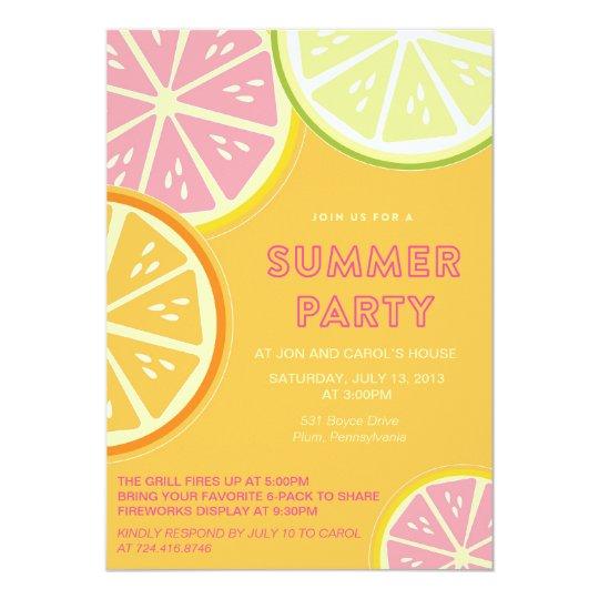 Summer Lemonade Pool Party Card