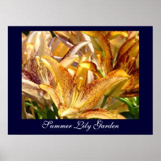 Summer Lily Garden art prints gifts Orange Lilies Poster