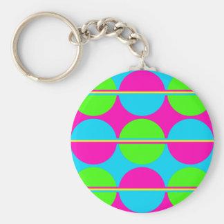Summer Lime Green Hot Pink Teal Circles Stripes Key Ring