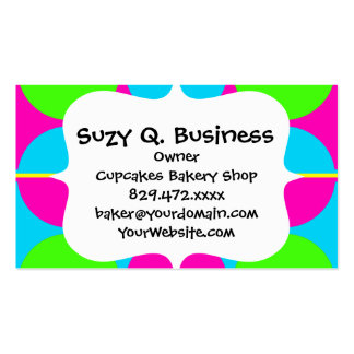 Summer Lime Green Hot Pink Teal Circles Stripes Pack Of Standard Business Cards