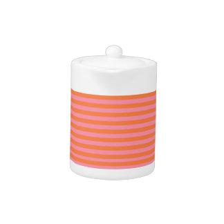 Summer Lines Orange Pink Small Teapot