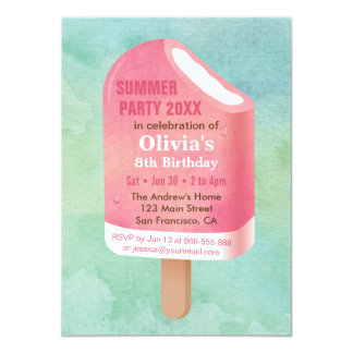Summer Lolly Popsicle Ice Cream Birthday Party Card