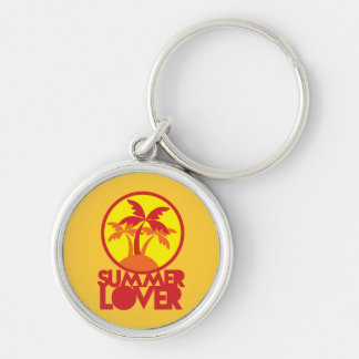 SUMMER LOVER with palm trees Keychains