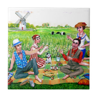 Summer  Luncheon in the 1920s Jamestown, RI Small Square Tile