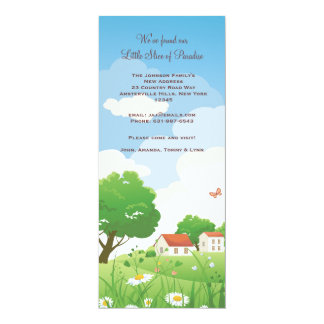 "Summer Meadow Moving Announcement 4"" X 9.25"" Invitation Card"