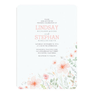 Summer Meadow Pink Flowers Watercolor Wedding Card