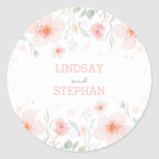 Summer Meadow Watercolor Pink Flowers Wedding Classic Round Sticker