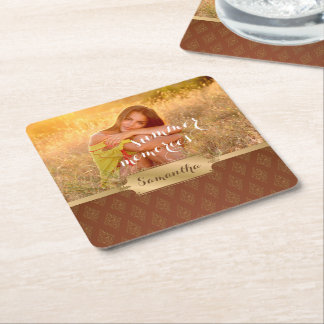 Summer Memories Custom Photo and Calligraphy Square Paper Coaster