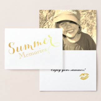 Summer Memories gold foil card with photo