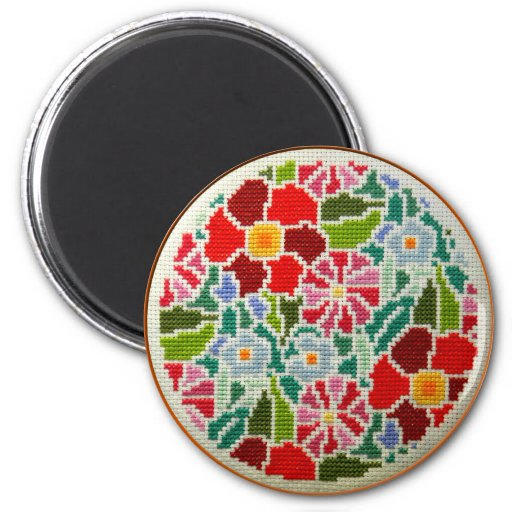 Summer memories hand embroidered round ornament fridge magnet