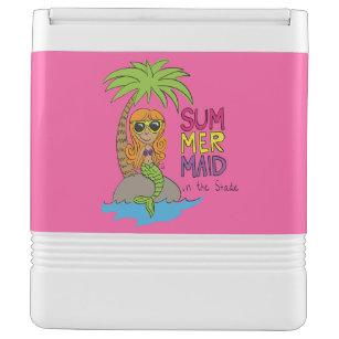 Summer Mermaid Cute Large Can Beach Cooler Pink