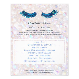 summer mermaid faux blue glitter makeup artist flyer