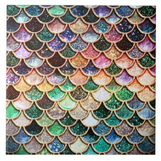 Summer Mermaid Green Glitter Scales- Mermaidscales Large Square Tile