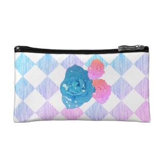 Summer Morning Rose Checkered Cosmetic Bag